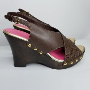 LILLY PULITZER Brown Slingback Wedges Size 9
